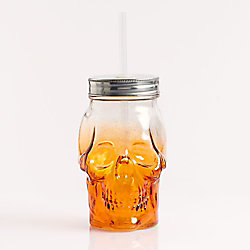 Skull Glass with Straw