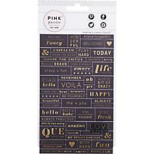 Pink Paislee Black & Gold Phrase Stickers