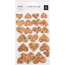 Pink Paislee Gold Cork Heart Stickers