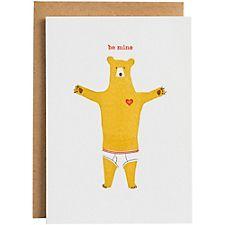 Letterpress Underwear Bear Valentine Card
