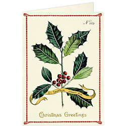 Cavallini Christmas Greetings Holly Holiday Card