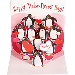 Kissing Penguins Pop-Up Valentine Card