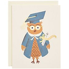 Gold Foil Owl A2 Graduation Card