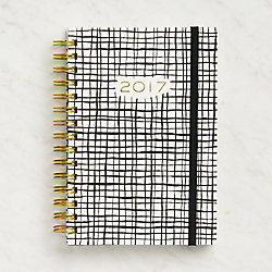 Paper Source Black and White Cross Weekly Spiral Planner 2017