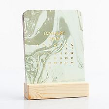 Paper Source Marbled Easel Box Desk Calendar 2017