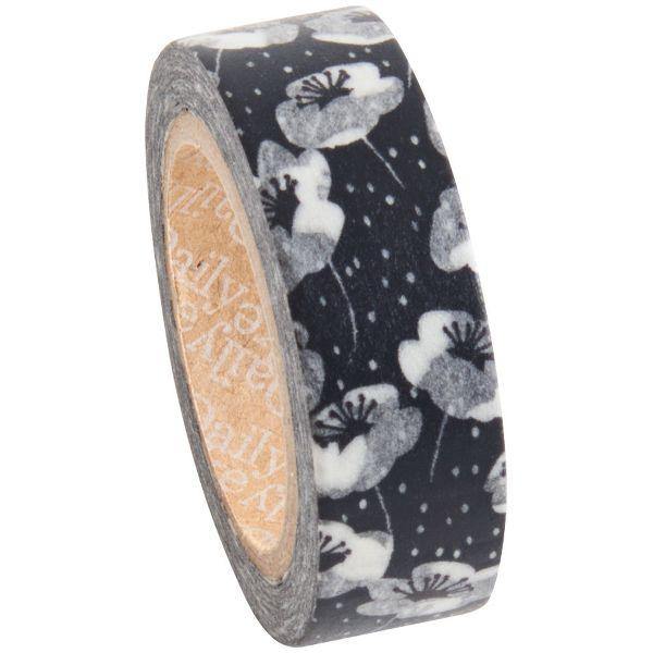 Black Flower Anemone Washi Tape