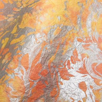 Yellow Amp Orange With Silver Marbling Fine Paper Paper Source