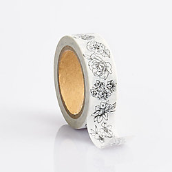 Black and White Floral Washi Tape