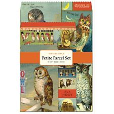 Cavallini Vintage Owls Gift Bag Set