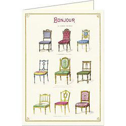 Cavallini Bonjour  Antique Chairs Card