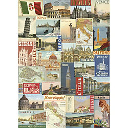 Cavallini Italy Postcards Wrapping Paper
