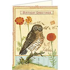 Cavallini Happy Birthday Owl Card