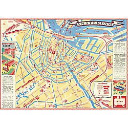 Cavallini Amsterdam Map Wrapping Paper