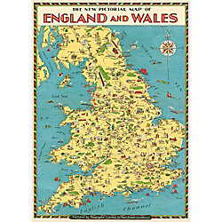 Cavallini England Map Wrapping Paper