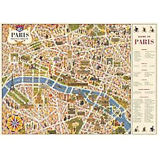 Cavallini Paris Map 4 Wrapping Paper