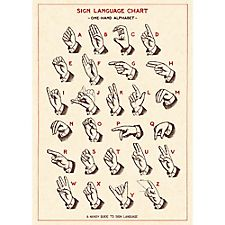 Cavallini Sign Language Chart Wrapping Paper