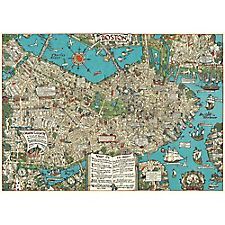 Cavallini Boston Map Wrapping Paper