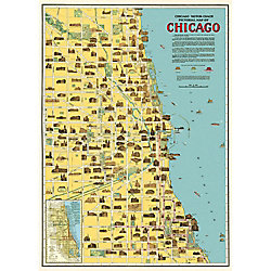 Cavallini Chicago Map Wrapping Paper
