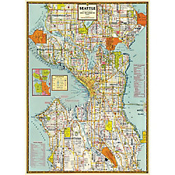 Cavallini Seattle Map Wrapping Paper