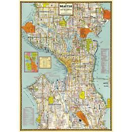 Seattle Map Flat Wrap