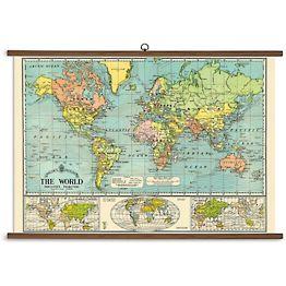 World Map Vintage School Chart