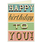 Cavallini Happy Birthday Typography Greeting Card