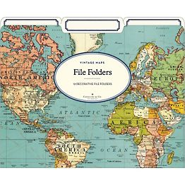 World Map File Folders