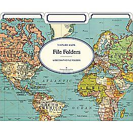 World Map File Folders