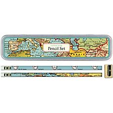 Cavallini Vintage Maps Pencil Tin