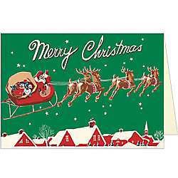 Santa And Sleigh Card by Cavallini