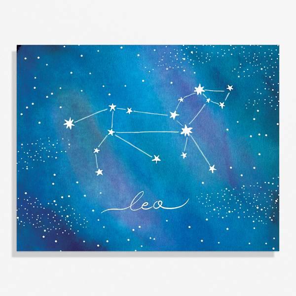 Beautiful astrology art print of the Leo sign.