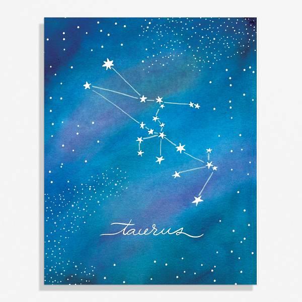 Constellation art print with Taurus design.