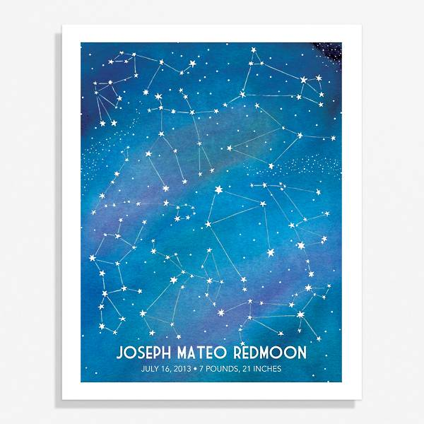 Custom Art Print from Paper Source featuring blue constellation design that can be personalized with your name.