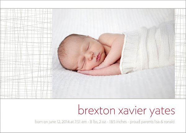 Textile Boy Birth Announcement