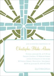 Stained Glass Cross Boy Christening Invitation