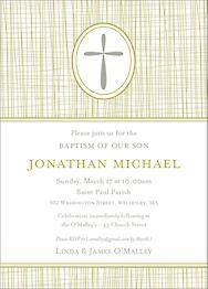 Cross Hatch Boy Baptism Invitation