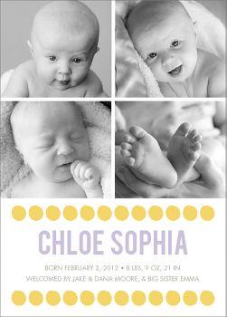 Big Dots Girl Birth Announcement - Multi Photo