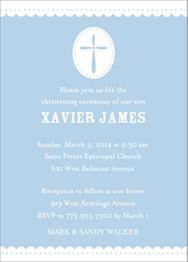 Scallop & Dots Boy Christening Invitation