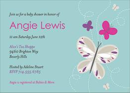 Butterflies Baby Shower Invitation