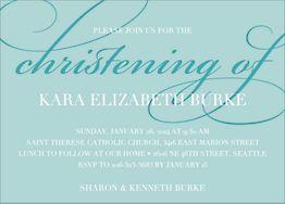 Script Christening Invitation