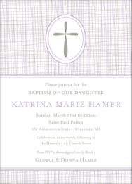 Cross Hatch Girl Baptism Invitation