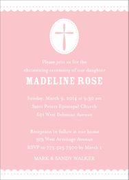 Scallop & Dots Girl Christening Invitation
