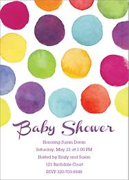 Watercolor Dots Baby Shower Invitation