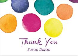 Watercolor Dots Baby Thank You Notes