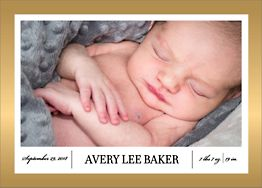 Foil Stamped Border Horizontal Birth Announcement