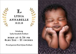 Foil Stamped Laurel Branch Horizontal Girl Birth Announcement