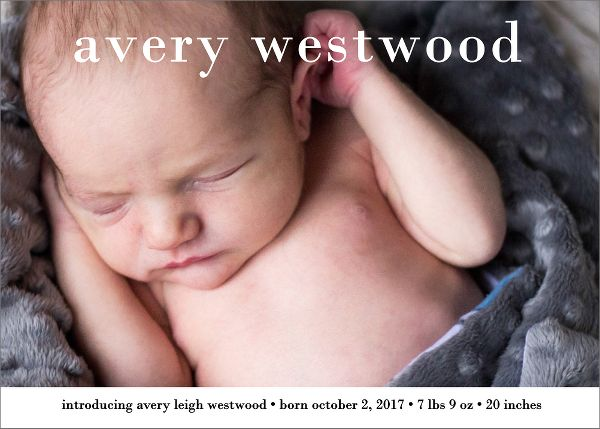 Lowercase Girl Birth Announcement