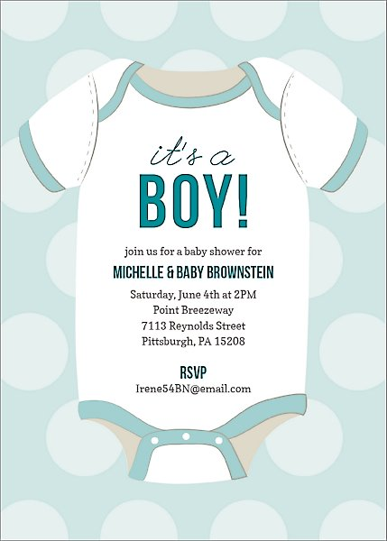 Boy Onesie Baby Shower Invitation