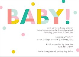 Colorblock Baby Shower Invitation