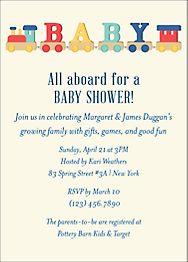 Toy Train Baby Shower Invitation
